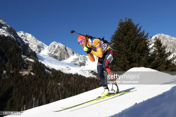 Denise Herrmann of Germany competes the Women 15 km Individual Competition at the IBU World Championships Biathlon Antholz-Anterselva on February 18,...