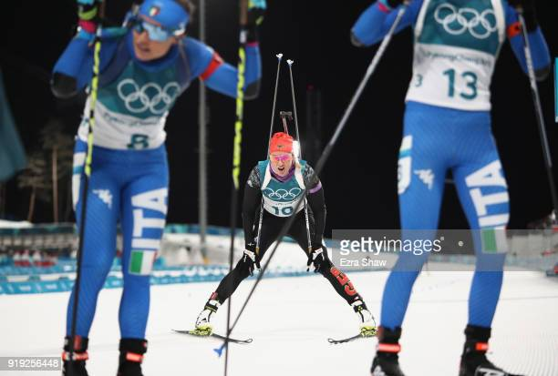 Denise Herrmann of Germany crosses the finish line during the Women's 125km Mass Start Biathlon on day eight of the PyeongChang 2018 Winter Olympic...