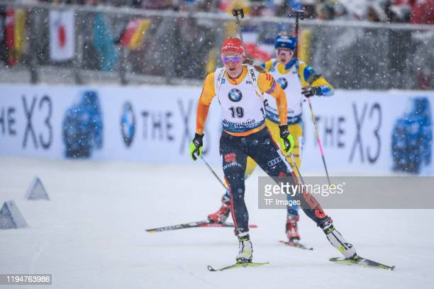Denise Herrmann of Germany in action competes during the Women 10 km Pursuit Competition at the BMW IBU World Cup Biathlon Ruhpolding on January 19...
