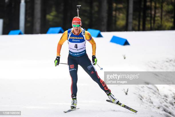 Denise Herrmann of Germany in action competes during the Women 12.5 km Mass Start Competition at the BMW IBU World Cup Biathlon Nove Mesto at on...