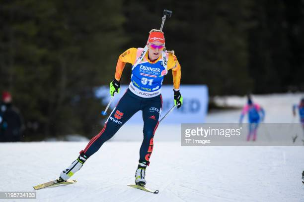 Denise Herrmann of Germany in action competes during the Women 15 km Individual Competition at the BMW IBU World Cup Biathlon Pokljuka on January 24,...