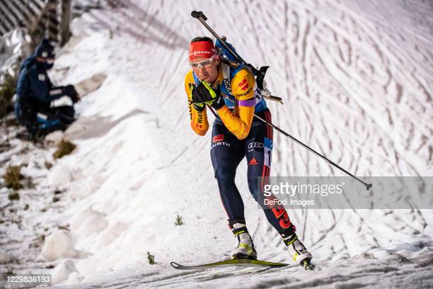 Denise Herrmann of Germany in action competes during the Women 15 km Individual Competition at the BMW IBU World Cup Biathlon Season Opening...
