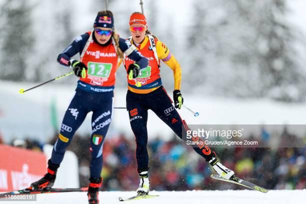 Denise Herrmann of Germany in action during the IBU Biathlon World Cup Women's Relay on December 14, 2019 in Hochfilzen, Austria.