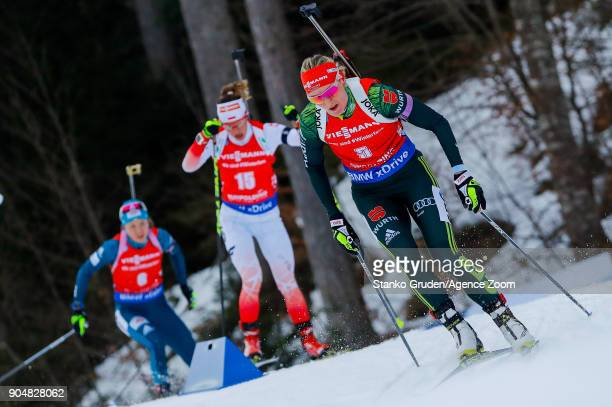 Denise Herrmann of Germany in action during the IBU Biathlon World Cup Men's and Women's Mass Start on January 14 2018 in Ruhpolding Germany
