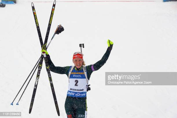 Denise Herrmann of Germany wins the bronze medal during the IBU Biathlon World Championships Men's and Women's Mass Start on March 17 2019 in...
