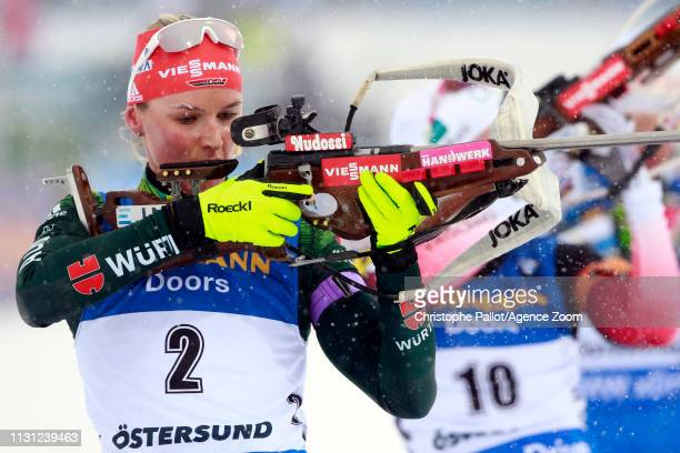 Denise Herrmann of Germany wins the bronze medal during the IBU Biathlon World Championships Men's and Women's Mass Start on March 17, 2019 in...