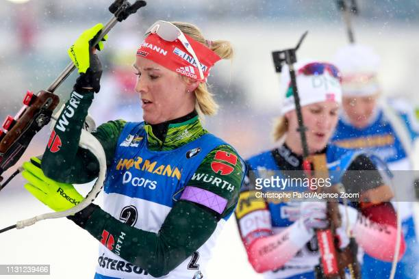 Denise Herrmann of Germany wins the bronze medal during the IBU Biathlon World Championships Men's and Women's Mass Start on March 17 2019 in...