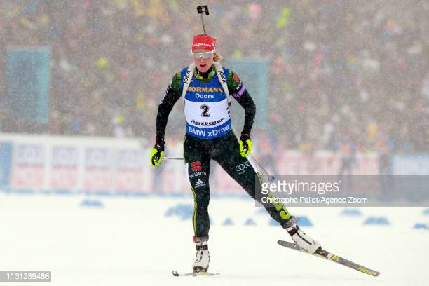 Denise Herrmann of Germany wins the bronze medal during the IBU Biathlon World Championships Men's and Women's Mass Start on March 17, 2019 in...