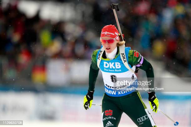 Denise Herrmann of Germany wins the gold medal during the IBU Biathlon World Championships Men's and Women's Pursuit on March 10, 2019 in Oestersund,...