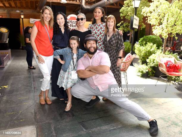 Denise Huth Angela Kang Cailey Fleming Melissa McBride Cooper Andrews Eleanor Matsuura and Gale Anne Hurd of 'The Walking Dead' attend the Pizza Hut...