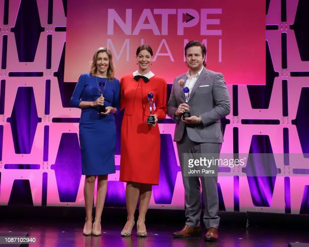 Denise Huth Josh McDermitt and Pollyanna McIntosh receive the 2018 Global TV Demand Award Most InDemand TV Series for theThe Walking Dead at the...