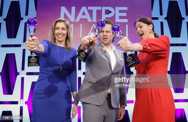 Denise Huth Josh McDermitt and Pollyanna McIntosh receive the 2018 Global TV Demand Award Most InDemand TV Series for the'The Walking Dead' at the...