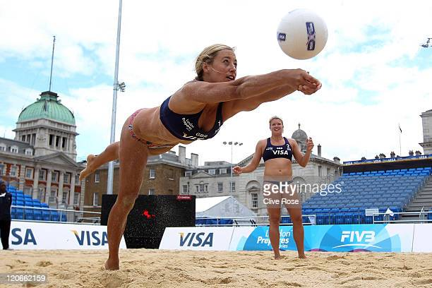 Denise Johns of Great Britain in action during a practice session prior to the VISA FIVB Beach Volleyball International at Horse Guards Parade on...