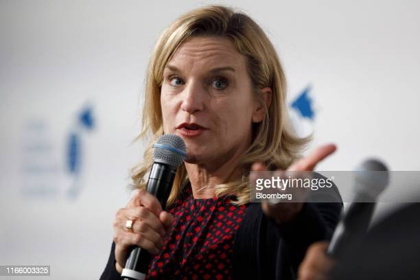 Denise Johnson group president of resource industries at Caterpillar Inc speaks during the The International Economic Forum of the Americas Toronto...