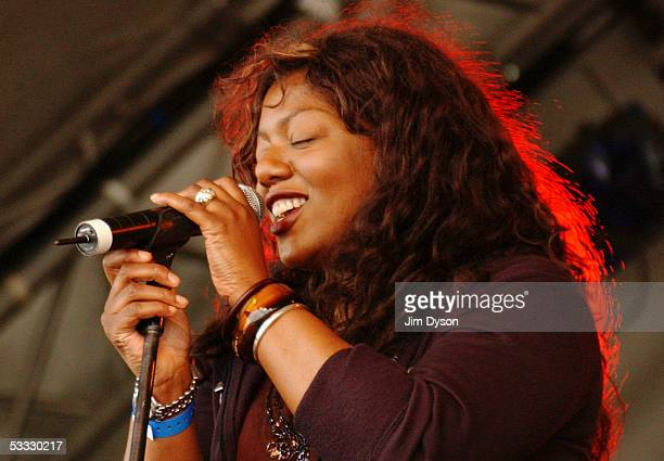 Denise Johnson of A Certain Ratio performs on the Open Air stage during the first day of the Big Chill music festival at Eastnor Castle Deer Park in...