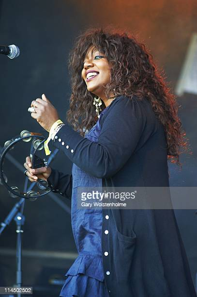 Denise Johnson performs on stage with A Certain Ratio during the third day of FOM Fest at Capesthorne Hall on May 22 2011 in Macclesfield United...