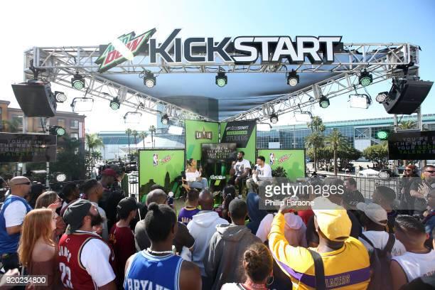 Denise Jones NBA AllStar Andre Drummond and Mtn Dew Kickstart Rising Star Jamal Murray take the stage at Mtn Dew Kickstart Courtside Studios at NBA...