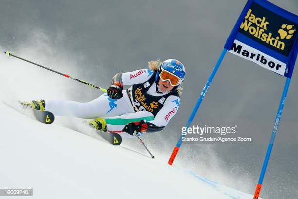 Denise Karbon of Italy competes during the Audi FIS Alpine Ski World Cup Women's Giant Slalom on January 26 2013 in Maribor Slovenia