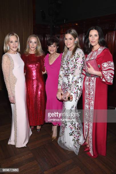 Denise LeFrak Roberta Amon Myra Biblowit Aerin Lauder and Anne Caruso attend the Breast Cancer Research Foundation Hot Pink Gala hosted by Elizabeth...