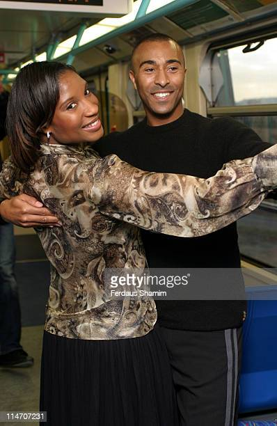 Denise Lewis and Colin Jackson during Launch of Docklands Light Railway Extension to London City Airport at London City Airport station in London...