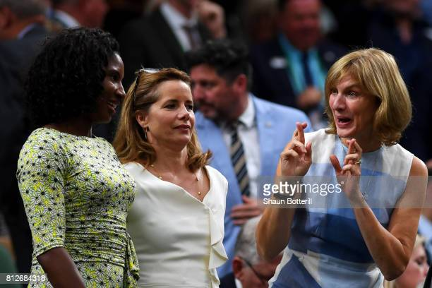 Denise Lewis and Darcey Bussell look on as Fiona Bruce crosses her fingers in the centre court royal box during the Ladies Singles quarter final...