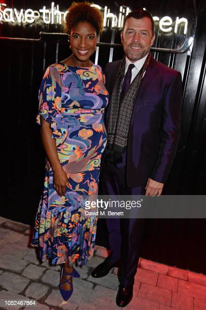 Denise Lewis and Steve Finan O'Connor attend the Big Up Uganda fundraising gala for Save The Children hosted by Adwoa Aboah Felix Cooper at Wild By...