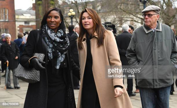 Denise Lewis and Suzi Perry during the Funeral of Baroness Heyhoe Flint on February 8 2017 in Wolverhampton England