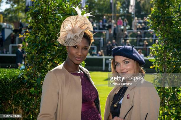 Denise Lewis and Victoria Pendleton attend the QIPCO British Champions Day at Ascot Racecourse on October 20 2018 in Ascot England