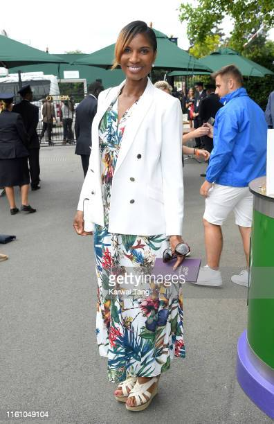 Denise Lewis attends day eight of the Wimbledon Tennis Championships at All England Lawn Tennis and Croquet Club on July 09 2019 in London England