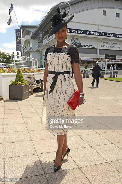 Denise Lewis attends Derby Day during the Investec Derby Festival at Epsom Racecourse on June 6 2015 in Epsom England