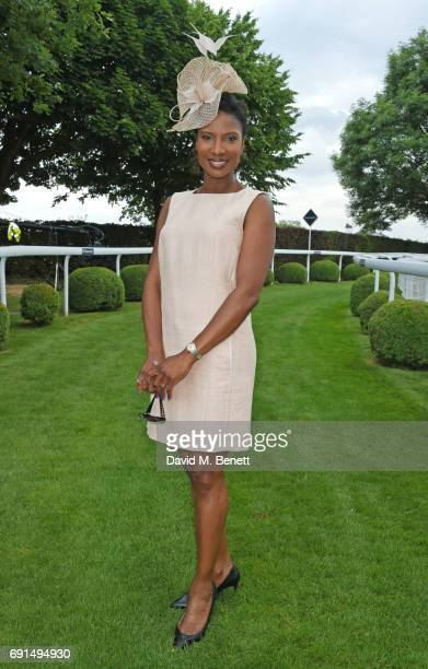 Denise Lewis attends Ladies Day of the 2017 Investec Derby Festival at The Jockey Club's Epsom Downs Racecourse at Epsom Racecourse on June 2 2017 in...