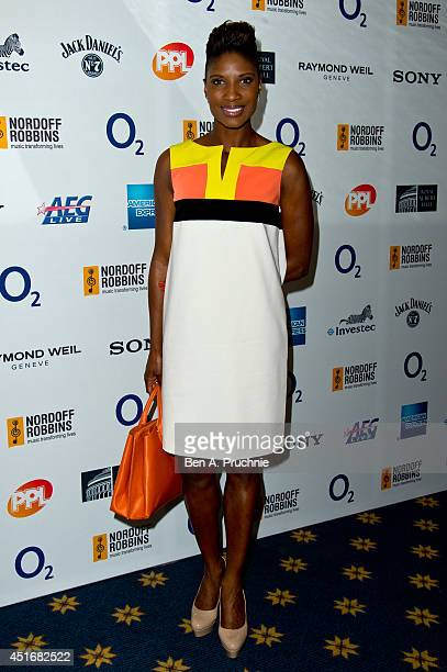 Denise Lewis attends the Nordoff Robbins 02 Silver Clef awards at London Hilton on July 4 2014 in London England