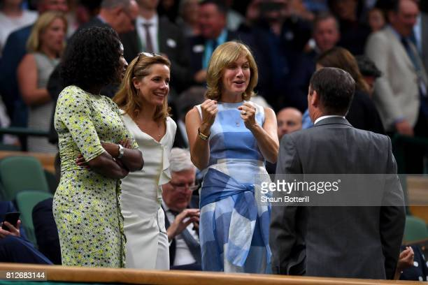 Denise Lewis Darcey Bussell and Fiona Bruce in discussion with AELTC Chairman Philip Brook in the centre court royal box on day eight of the...