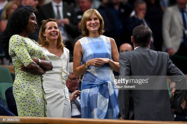 Denise Lewis, Darcey Bussell and Fiona Bruce in discussion with AELTC Chairman Philip Brook in the centre court royal box on day eight of the...