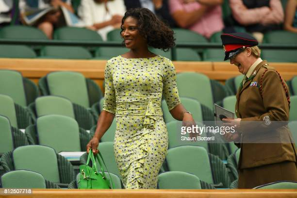 Denise Lewis looks on from the centre court royal box on day eight of the Wimbledon Lawn Tennis Championships at the All England Lawn Tennis and...