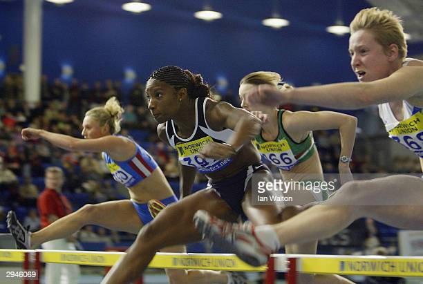 Denise Lewis of England in action during the Womens 60 metres hurdles during the Norwich Union World Indoor Athletics Trials at the English Institue...