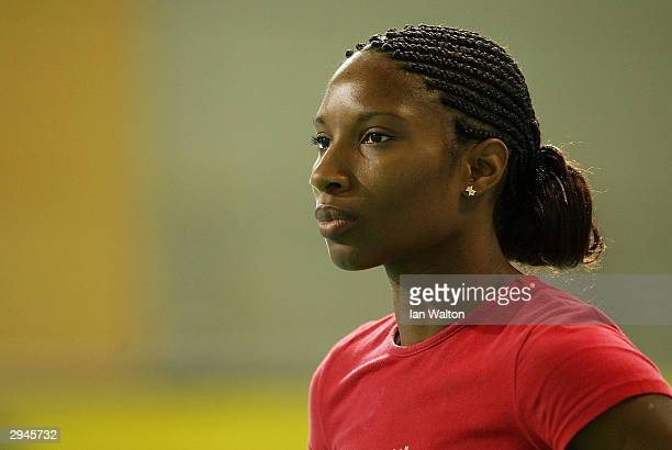 Denise Lewis of England looks on during the Womens Shot Put final during the Norwich Union World Indoor Athletics Trials at the English Institue of...