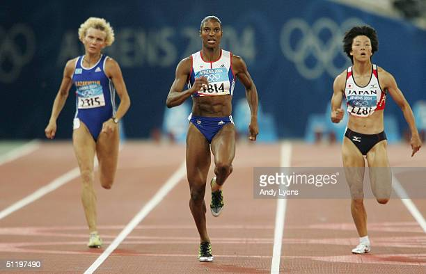 Denise Lewis of Great Britain competes in the 200 metre women's heptathlon on August 20, 2004 during the Athens 2004 Summer Olympic Games at the...