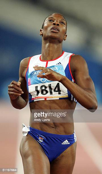 Denise Lewis of Great Britain competes in the 200 metre women's heptathlon on August 20 2004 during the Athens 2004 Summer Olympic Games at the...