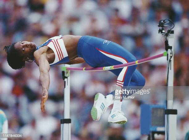 Denise Lewis of Great Britain competes in the high jump competition of the Women's Heptathlon event during the XXVII Olympic Summer Games on 24th...