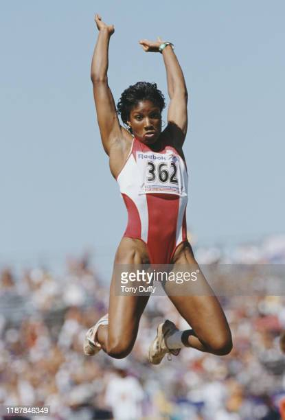 Denise Lewis of Great Britain competes in the long jump competition of the Women's Heptathlon event during the XV Commonwealth Games on 23rd August...