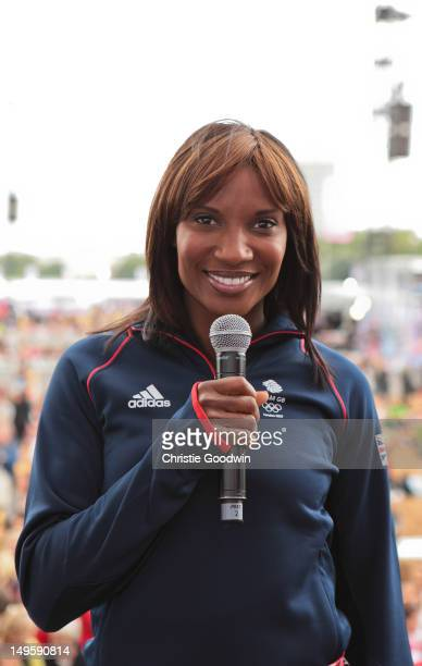 Denise Lewis Olympic heptathlon champion in Sydney 2000 on stage during BT London Live at Hyde Park on July 31 2012 in London United Kingdom