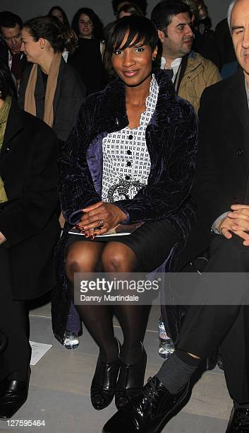 Denise Lewis seen on the front row the Emilio de la Morena show at London Fashion Week Autumn/Winter 2011 on February 22 2011 in London England