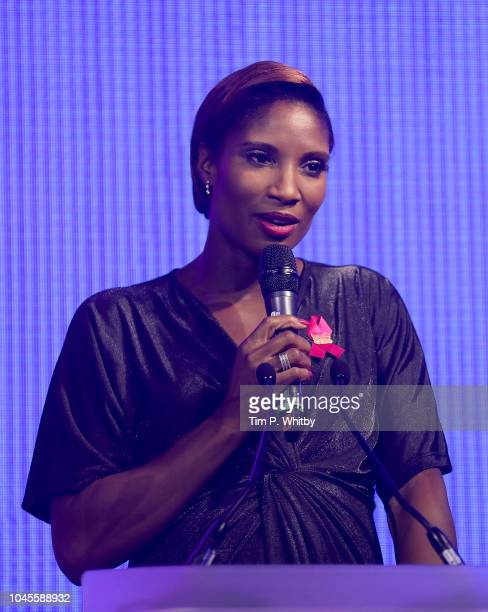 Denise Lewis speaks on stage at the Breast Cancer Care London Fashion Show in association with Dorothy Perkins at Park Plaza Westminster Bridge Hotel...