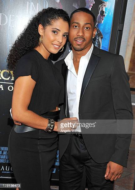 Denise Marie Xavier and actor Brandon T Jackson arrive at the premiere of 'Percy Jackson Sea Of Monsters' at The Americana at Brand on July 31 2013...