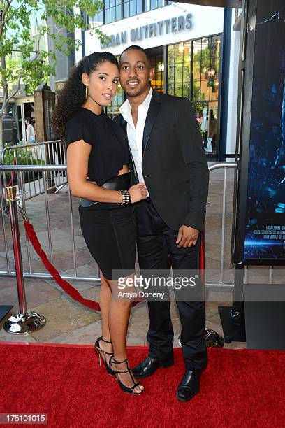 Denise Marie Xavier and Brandon T Jackson arrive at a special fan screening of Percy Jackson Sea Of Monsters Los Angeles Premiere at The Americana at...