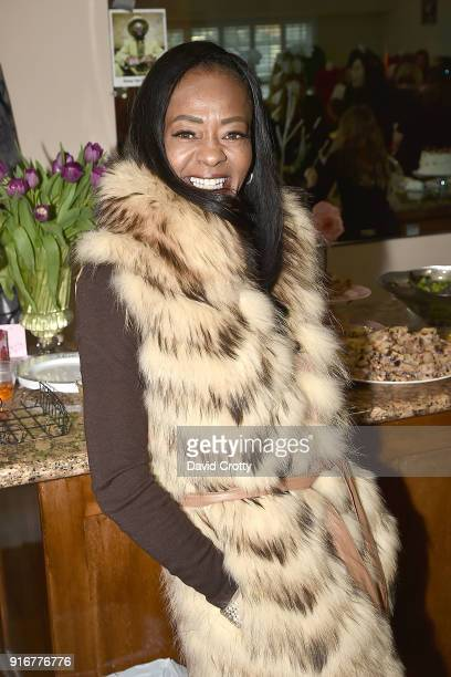 K Denise McQueen attends the Somper Furs Hosts Birthday Tea Party Honoring Iran Hopkins on February 10 2018 in Los Angeles California