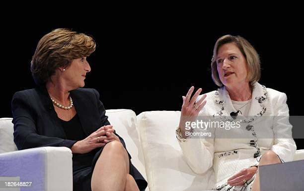 Denise Morrison president and chief executive officer of Campbell Soup Co left and her sister Maggie Wilderotter chairman and chief executive officer...