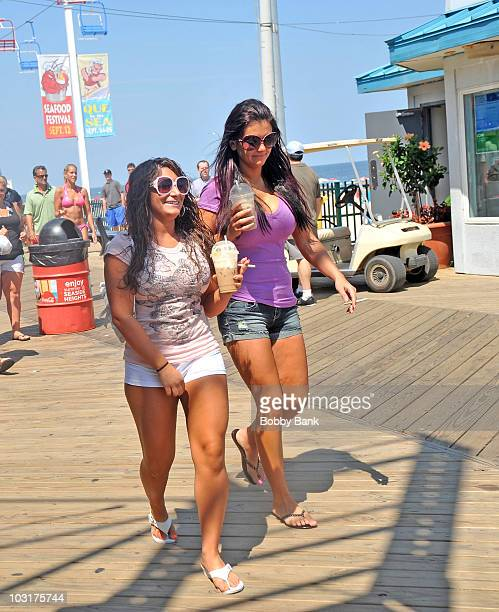 Denise Nicole Cortese and Jenni 'JWoww' Farley filming on location for 'Jersey Shore' on July 30 2010 in Seaside Heights New Jersey