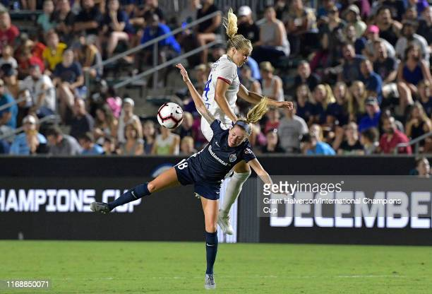Denise O'Sullivan of North Carolina Courage and Ada Hegerberg of Olympique Lyonnais battle for the ball during the International Champions Cup...